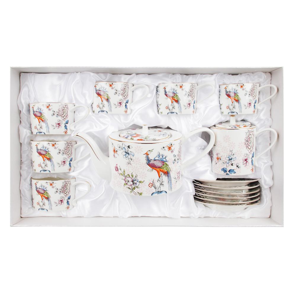 MILLIMI Райская птица Набор чайный 14 пр., чашка 270мл, чайник 1150мл, сахарница 450мл, кост. фрф - 5