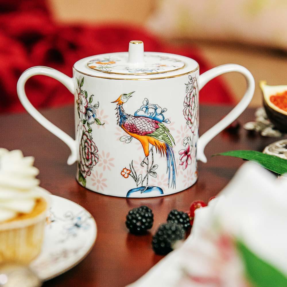MILLIMI Райская птица Набор чайный 14 пр., чашка 270мл, чайник 1150мл, сахарница 450мл, кост. фрф - 7