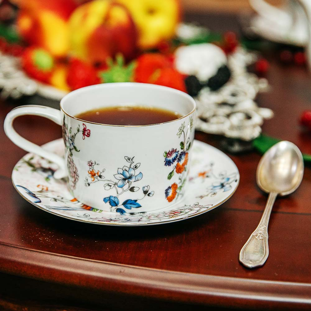 MILLIMI Райская птица Набор чайный 14 пр., чашка 270мл, чайник 1150мл, сахарница 450мл, кост. фрф - 8