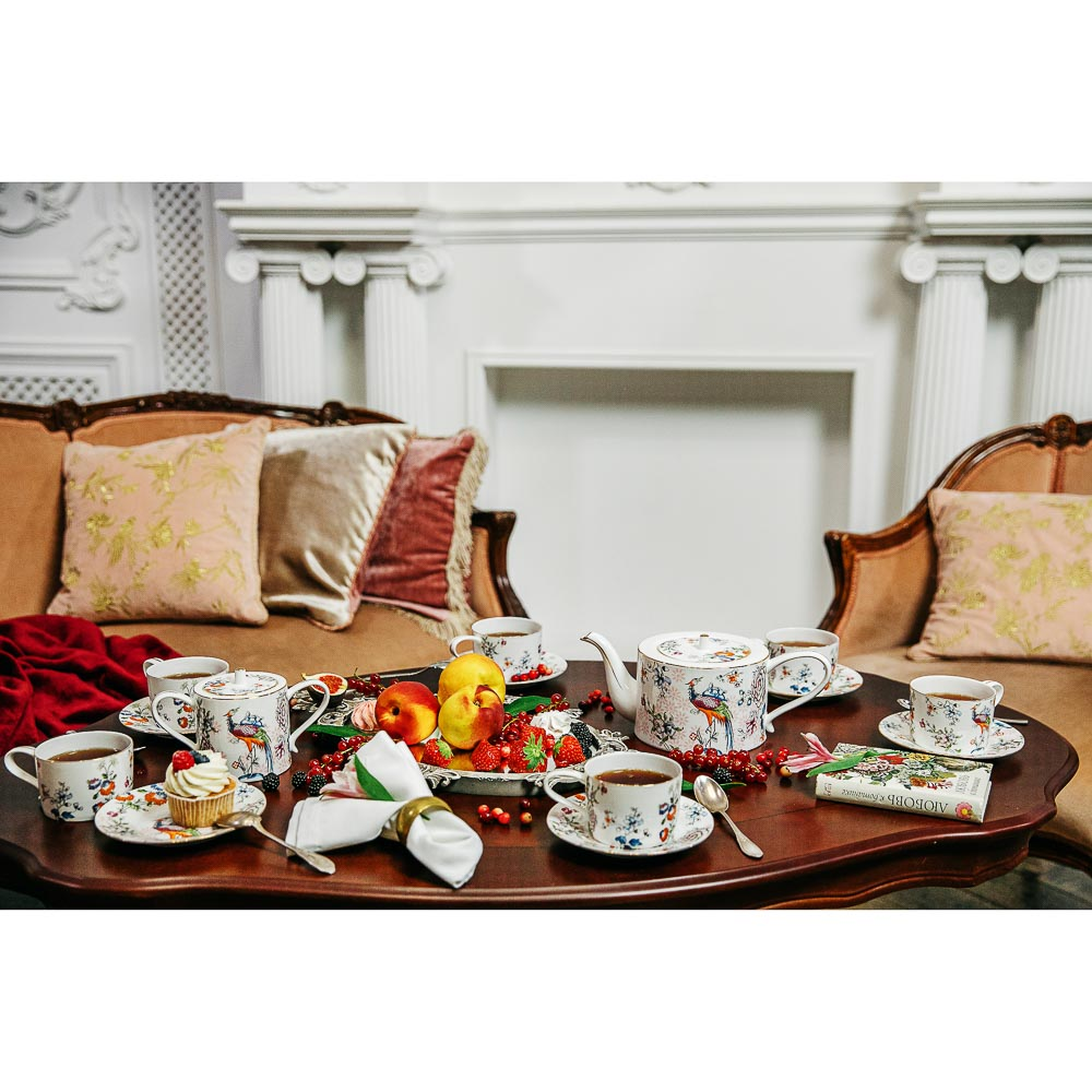 MILLIMI Райская птица Набор чайный 14 пр., чашка 270мл, чайник 1150мл, сахарница 450мл, кост. фрф - 9
