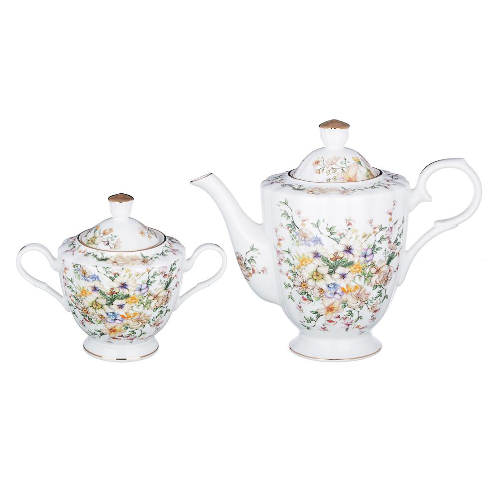 MILLIMI Версаль Набор чайный 14 пр., чашка 240мл, чайник 1350мл, сахарница 400мл, кост. фрф - 4