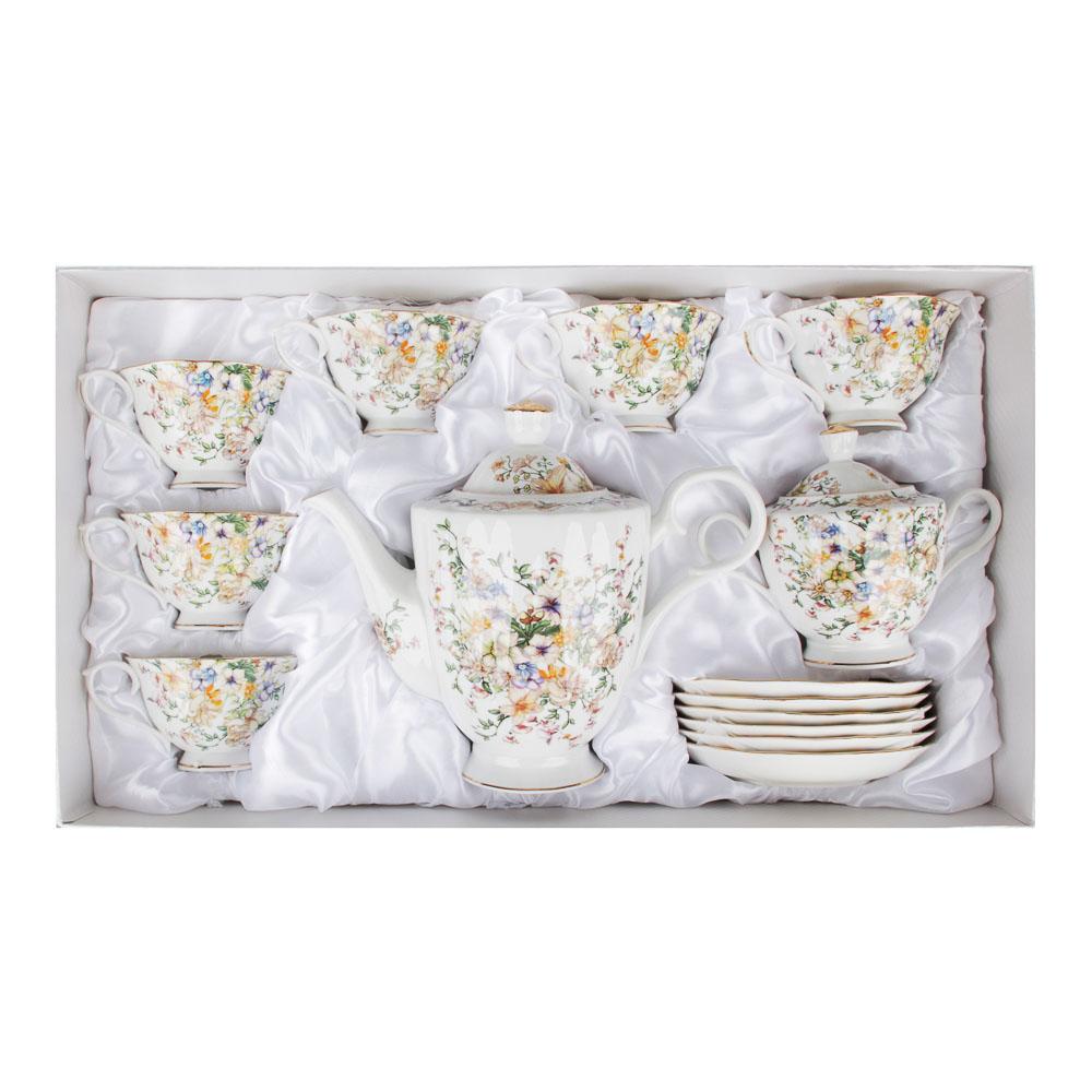 MILLIMI Версаль Набор чайный 14 пр., чашка 240мл, чайник 1350мл, сахарница 400мл, кост. фрф - 5