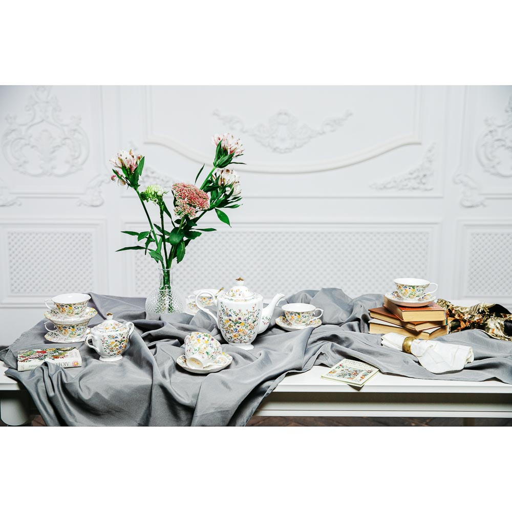 MILLIMI Версаль Набор чайный 14 пр., чашка 240мл, чайник 1350мл, сахарница 400мл, кост. фрф - 8