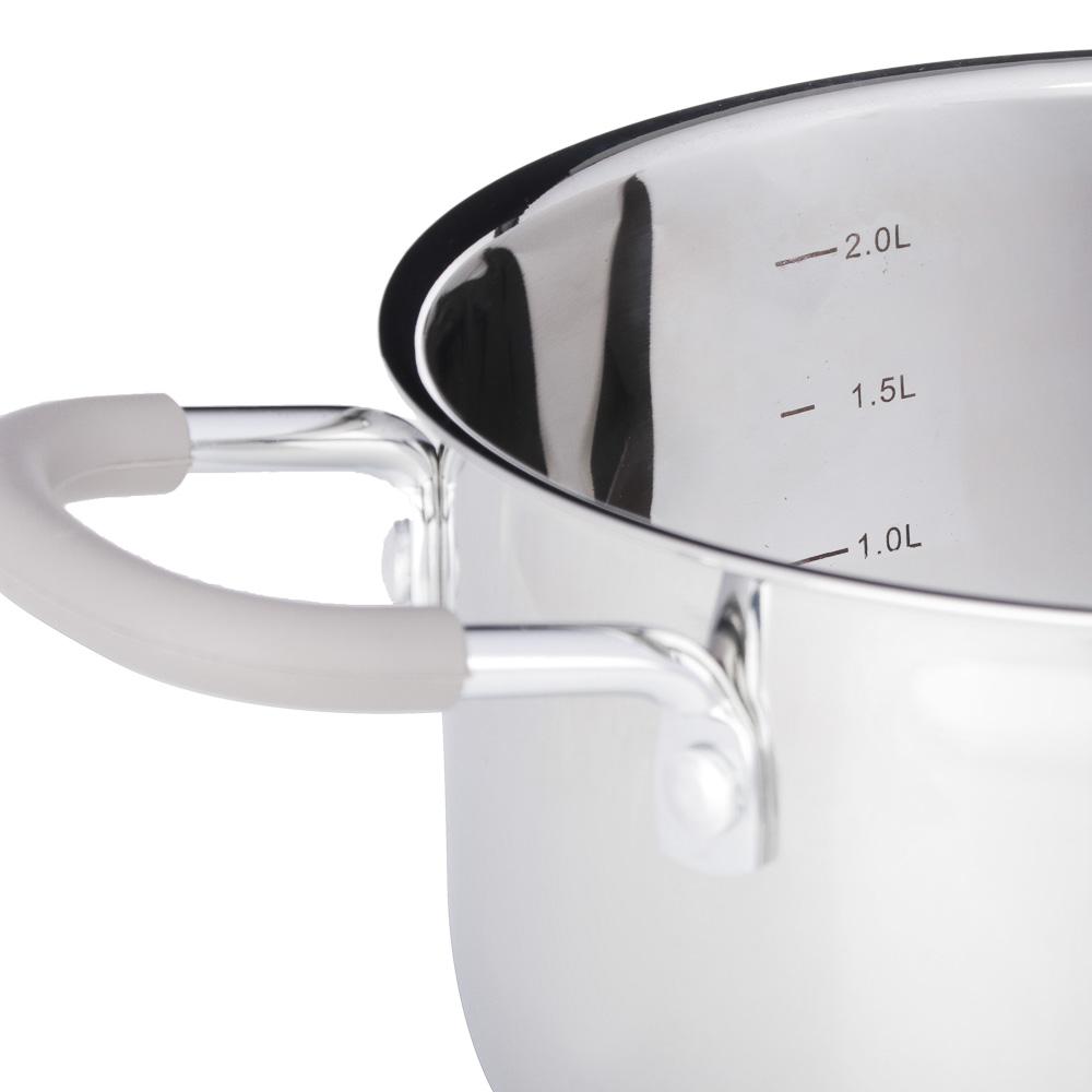 SATOSHI Альбер Набор кастрюль 6 пр.: 1,7л, 2,5л, 3,4л, бежевые силиконовые ручки, со стекл. крышкой - 4