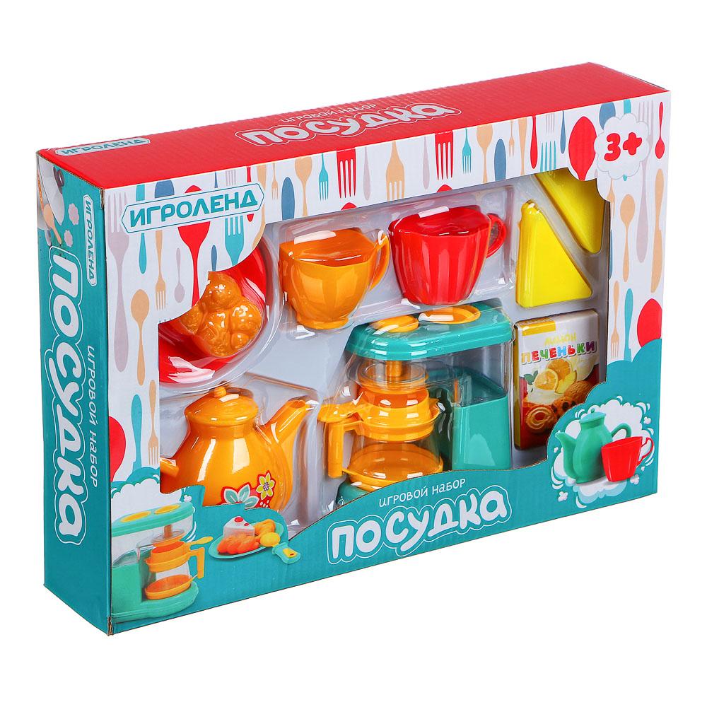ИГРОЛЕНД Игровой набор Посудка, пластик, 9-11 пр., 35х24х7 см, 3 дизайна - 3