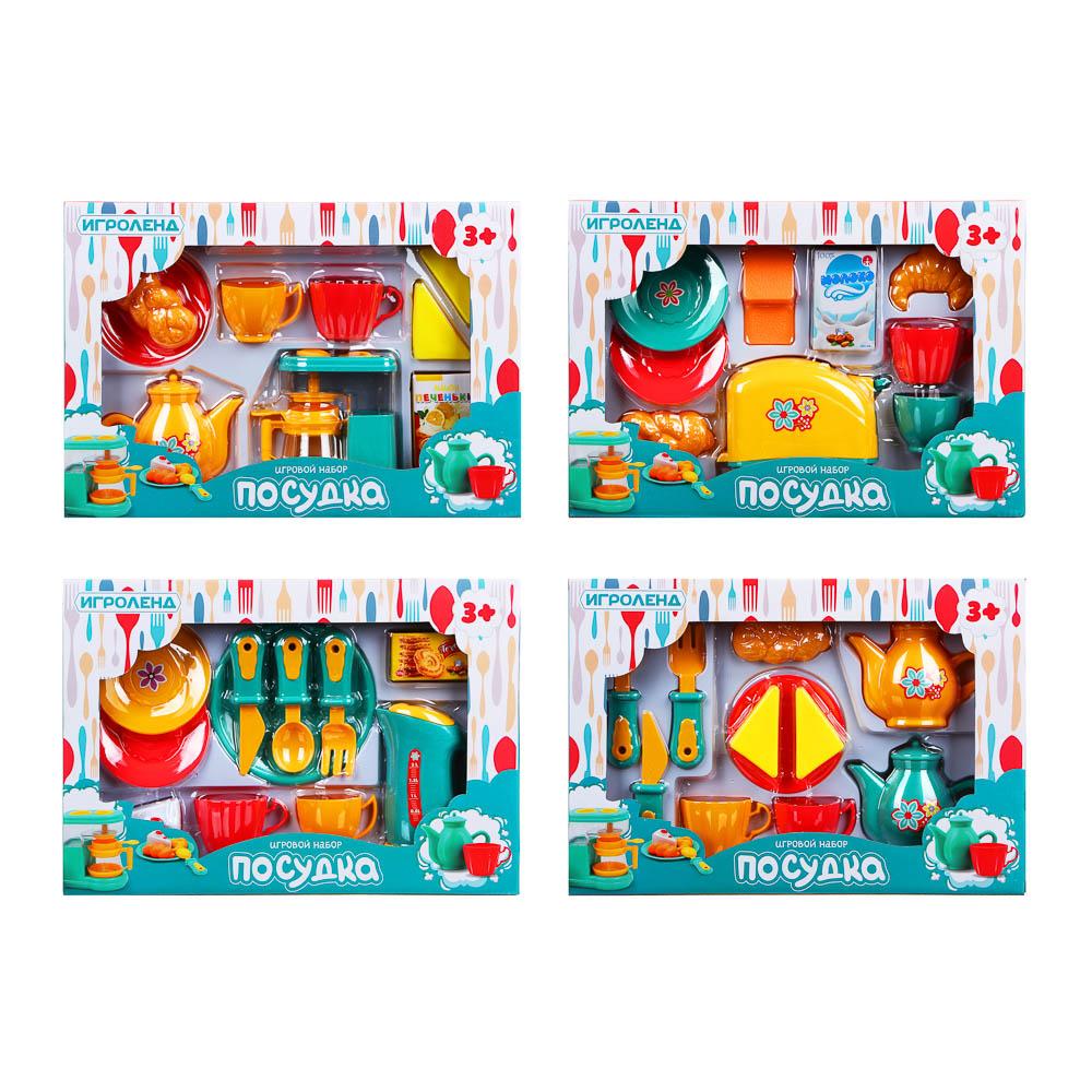 ИГРОЛЕНД Игровой набор Посудка, пластик, 9-11 пр., 35х24х7 см, 3 дизайна - 4