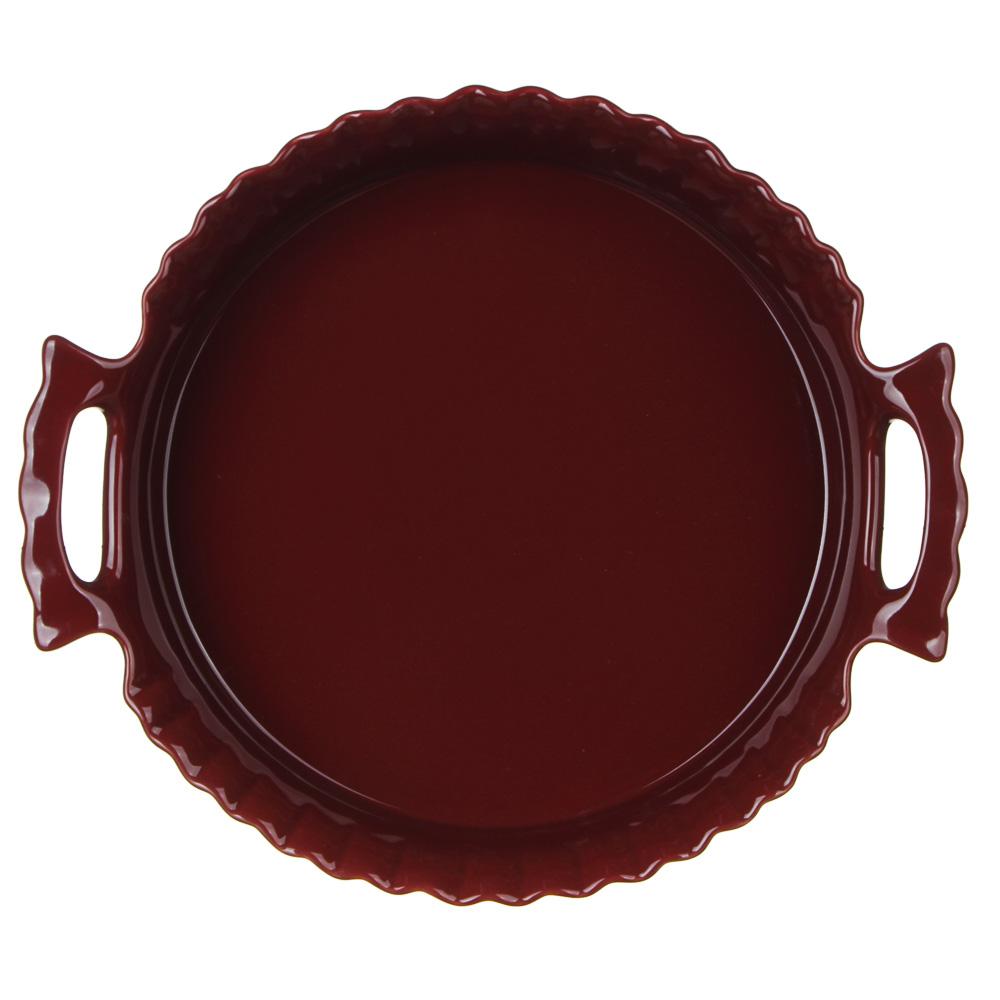 MILLIMI Форма для запекания и сервировки круглая с ручками, керамика, 30х26,5х6,5см, бордо - 3