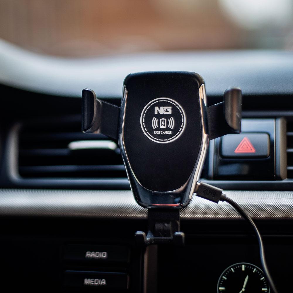 NG Держатель телефона на дефлектор с беспроводной зарядкой, 10W, 2А, пластик - 7