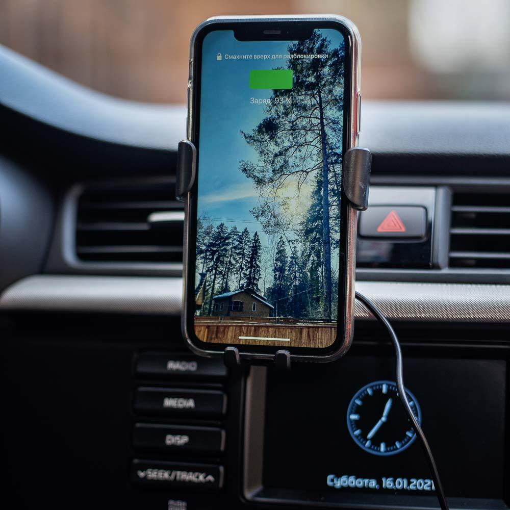 NG Держатель телефона на дефлектор с беспроводной зарядкой, 10W, 2А, пластик - 8