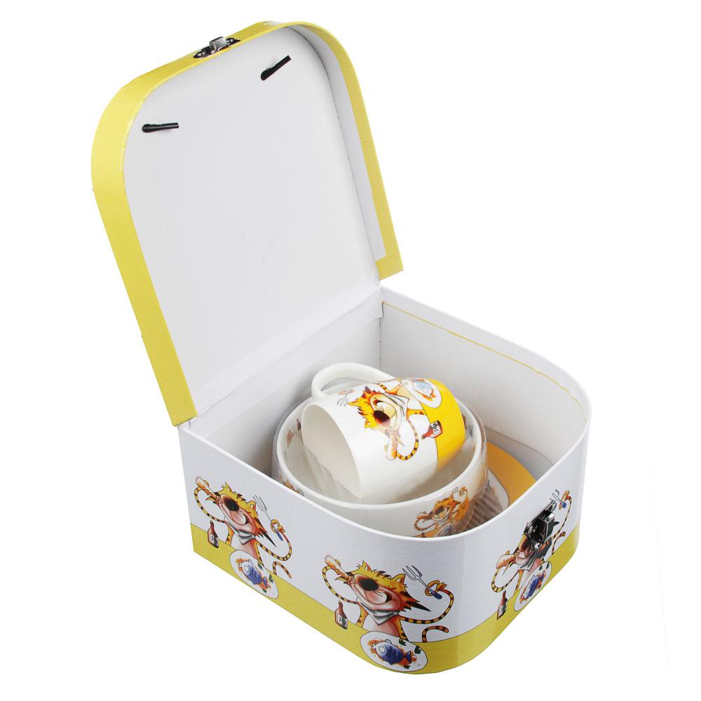MILLIMI Полосатый кот Набор детской посуды 3 предмета, костяной фарфор - 4