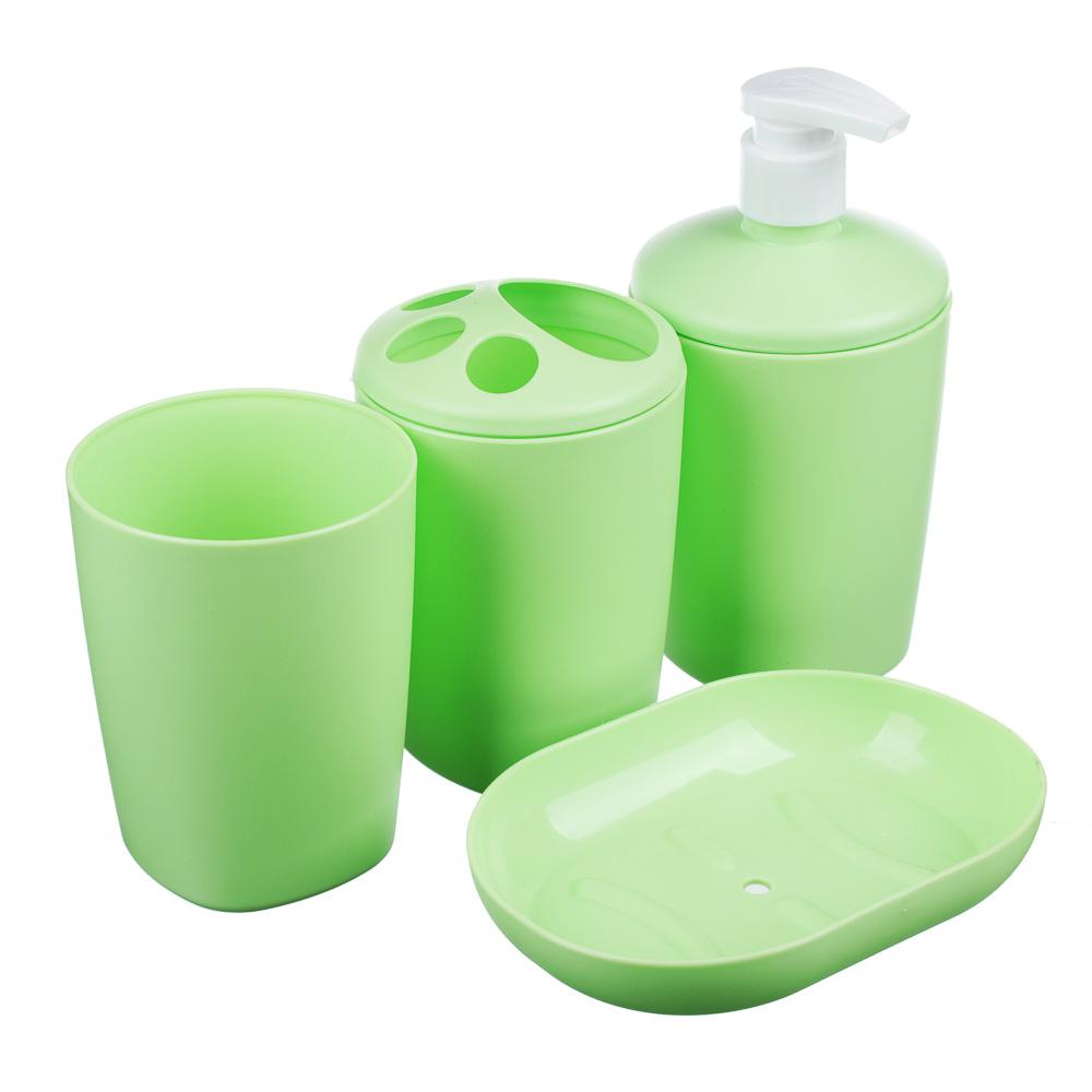 """Набор для ванной 4 пр. """"Классика"""" (мыльница, стакан, дозатор, подставка для з/щ), пластик, 3 цвета - 2"""