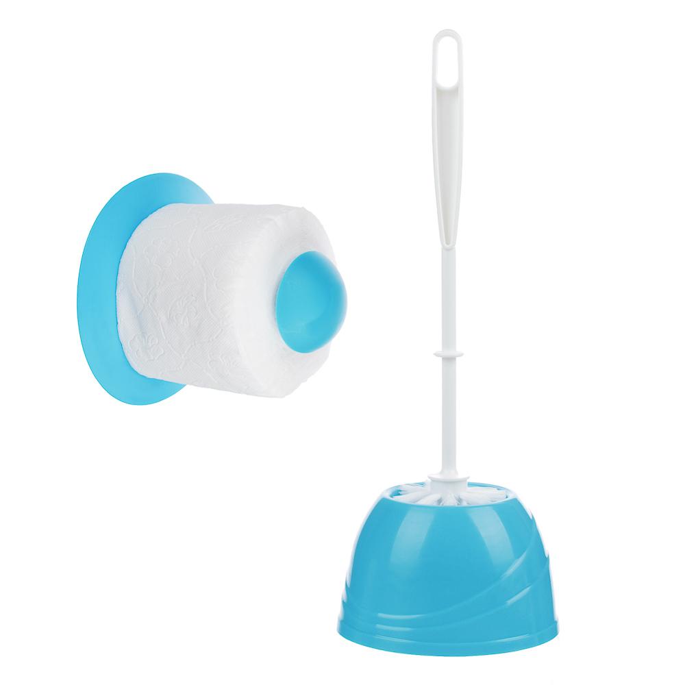 """Набор для туалета 2 пр. """"Классика"""" (ёрш, держатель для туалетной бумаги), пластик, 3 цвета - 2"""