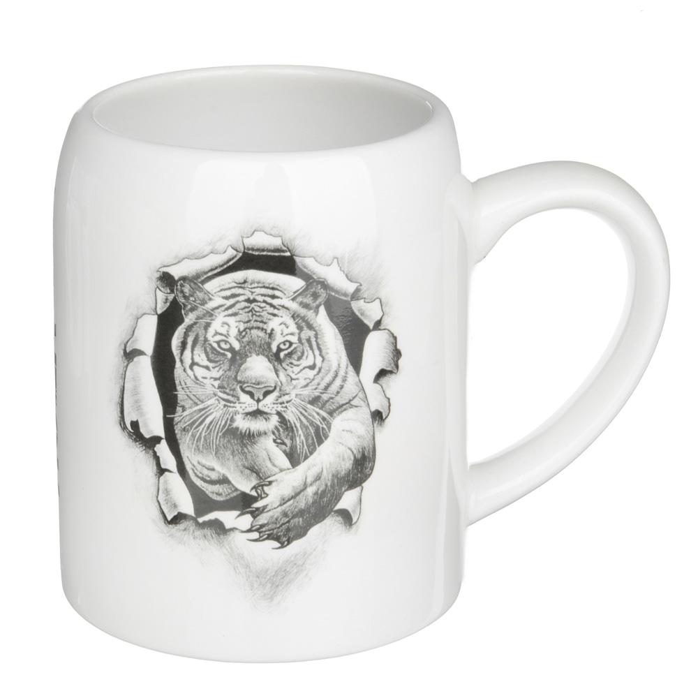"""Кружка пивная 550мл, керамика, 4 дизайна, """"Царь зверей"""", подар. упаковка - 2"""