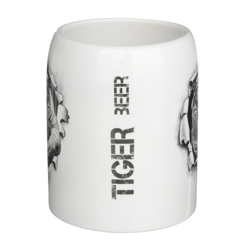 """Кружка пивная 550мл, керамика, 4 дизайна, """"Царь зверей"""", подар. упаковка - 3"""