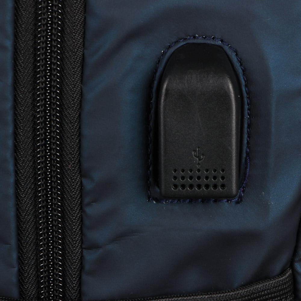 Рюкзак подростковый, 44x27x12см, 2 отделения, 3карм, водоотталк.нейлон, рельеф.спинка, USB, 2 цвета - 6