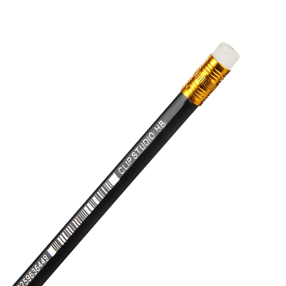ClipStudio Карандаш чернографитный с ластиком, шестигранный, корпус под черное дерево, пластик - 3
