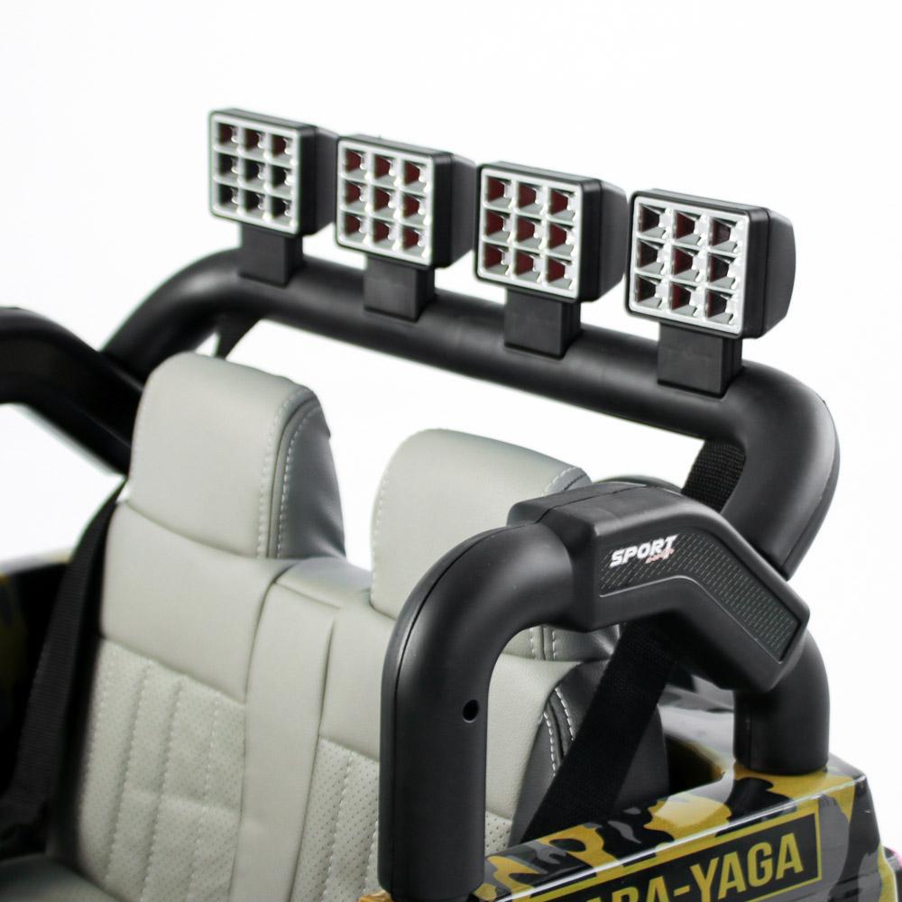 Электромобиль полноприводный BY, 4-6 км/ч, милитари серо-желтый - 2