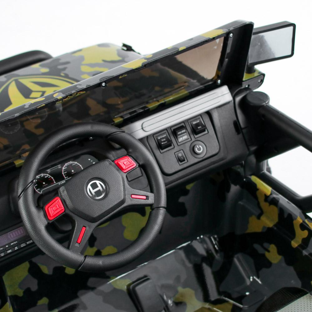 Электромобиль полноприводный BY, 4-6 км/ч, милитари серо-желтый - 3