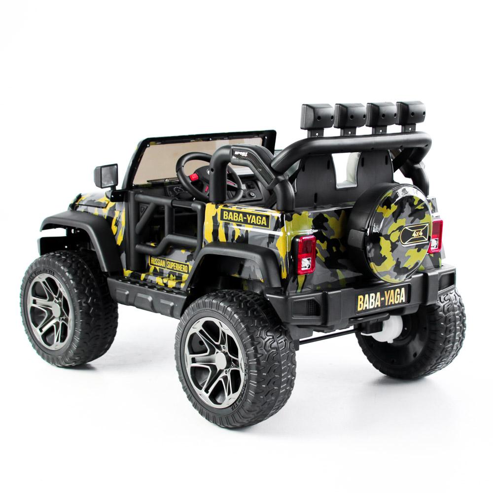 Электромобиль полноприводный BY, 4-6 км/ч, милитари серо-желтый - 6