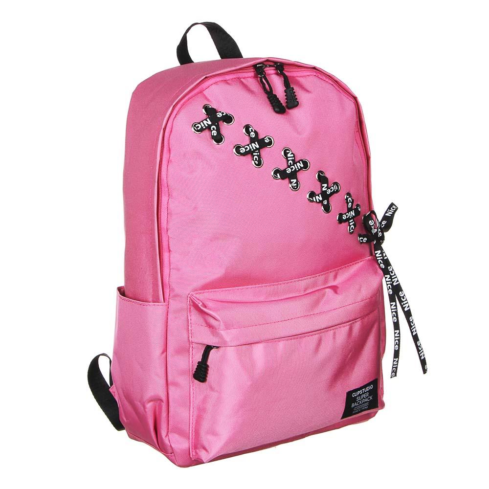 """Рюкзак подростковый 43х30x13см, 1 отд., 4 карм., плотный полиэстер, декор """"шнуровка"""", 2 цвета - 3"""