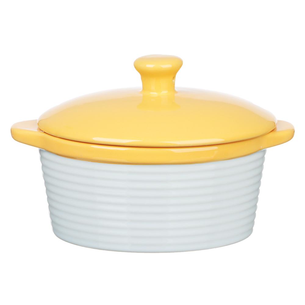 MILLIMI Горшочек с крышкой для запекания и сервировки, керамика, 16,5х13,5х10,5см,480мл, рельеф,2 цв - 2