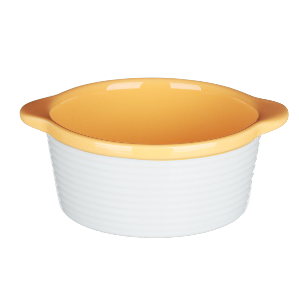 MILLIMI Горшочек с крышкой для запекания и сервировки, керамика, 16,5х13,5х10,5см,480мл, рельеф,2 цв - 4