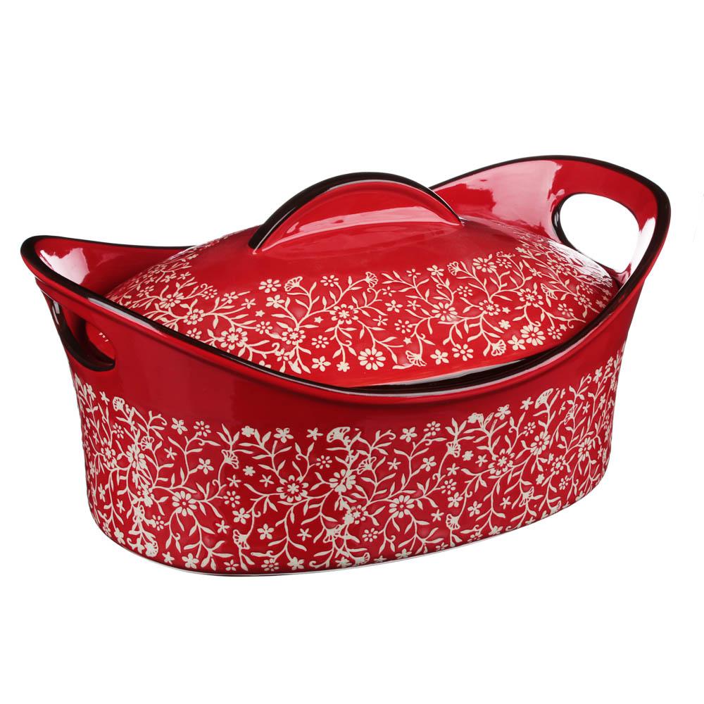 MILLIMI Утятница с крышкой, керамика, 31,5х21,5х14см, красный - 2