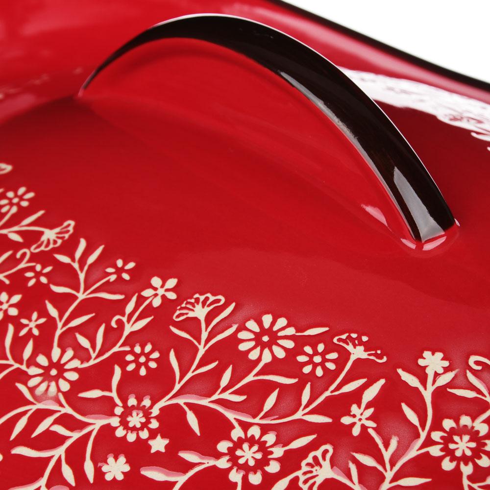 MILLIMI Утятница с крышкой, керамика, 31,5х21,5х14см, красный - 4