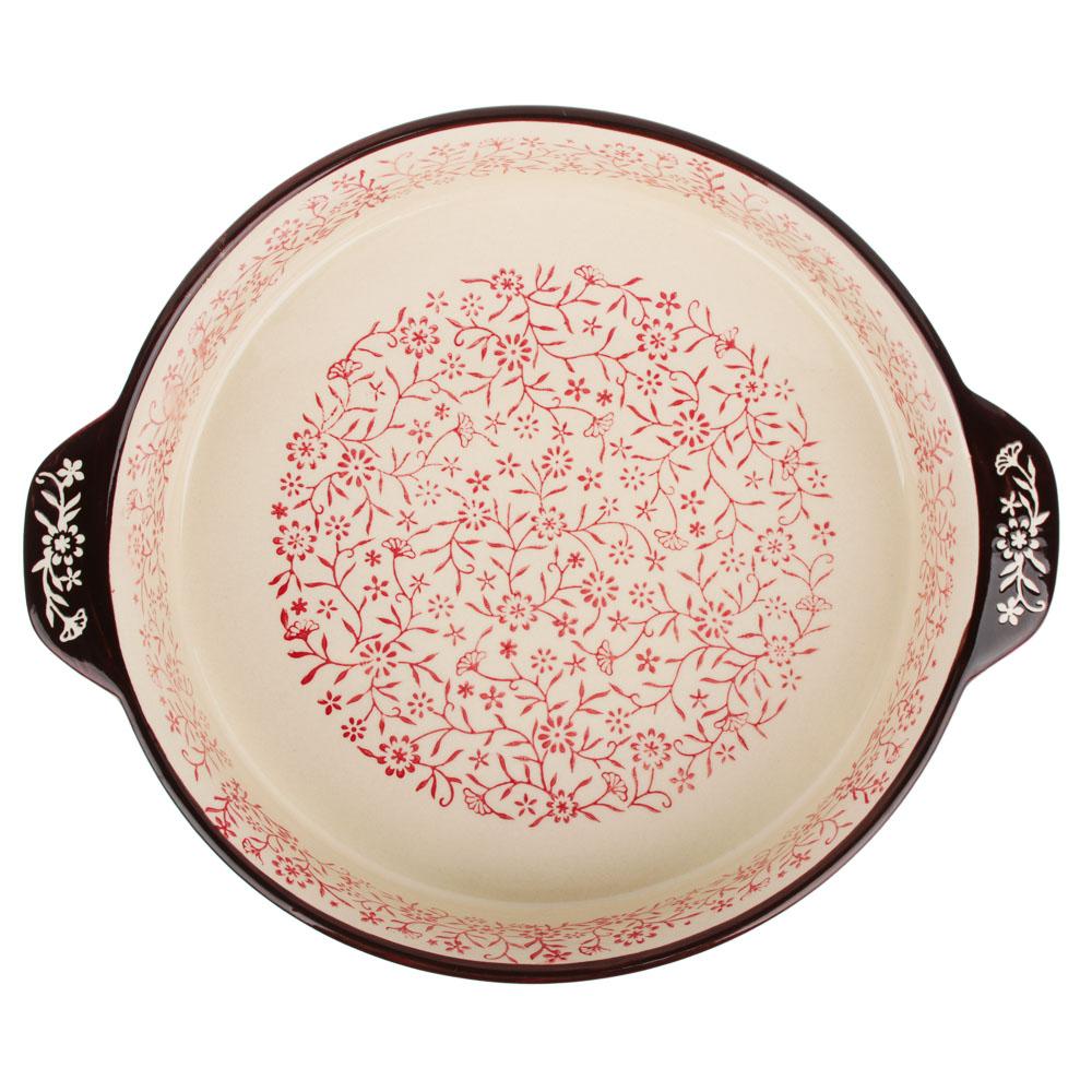 MILLIMI Форма для запекания и сервировки круглая с ручками, керамика, 29,5х25,5х6см, красный - 3