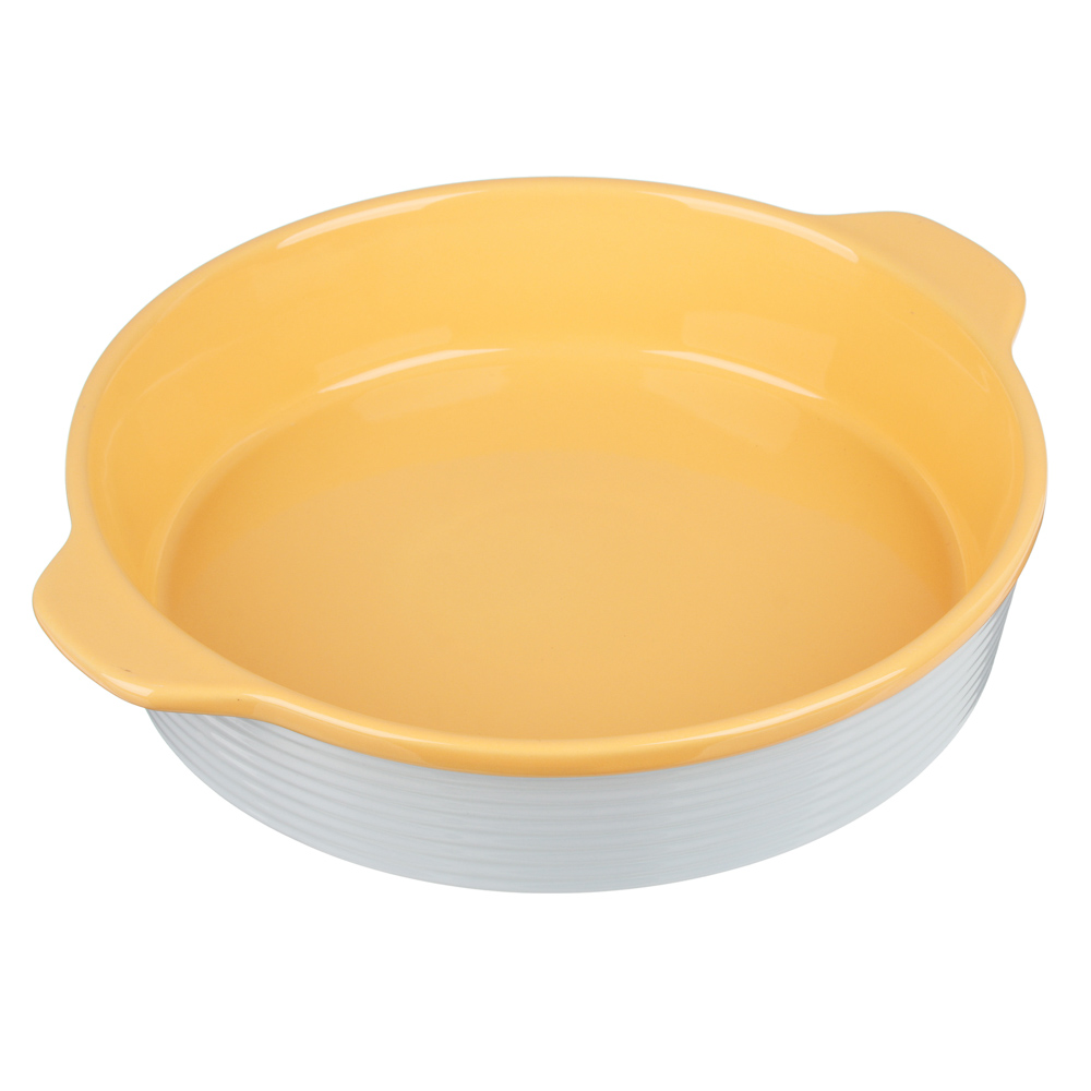 MILLIMI Форма для запекания и сервировки круглая с ручками, керамика, 29,5х25,5х6см, рельеф, 2 цвета - 2