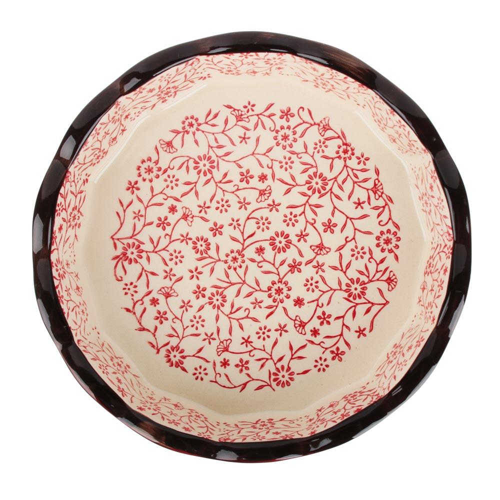 MILLIMI Форма для запекания и сервировки круглая, керамика, 22х4,5см, красный - 2