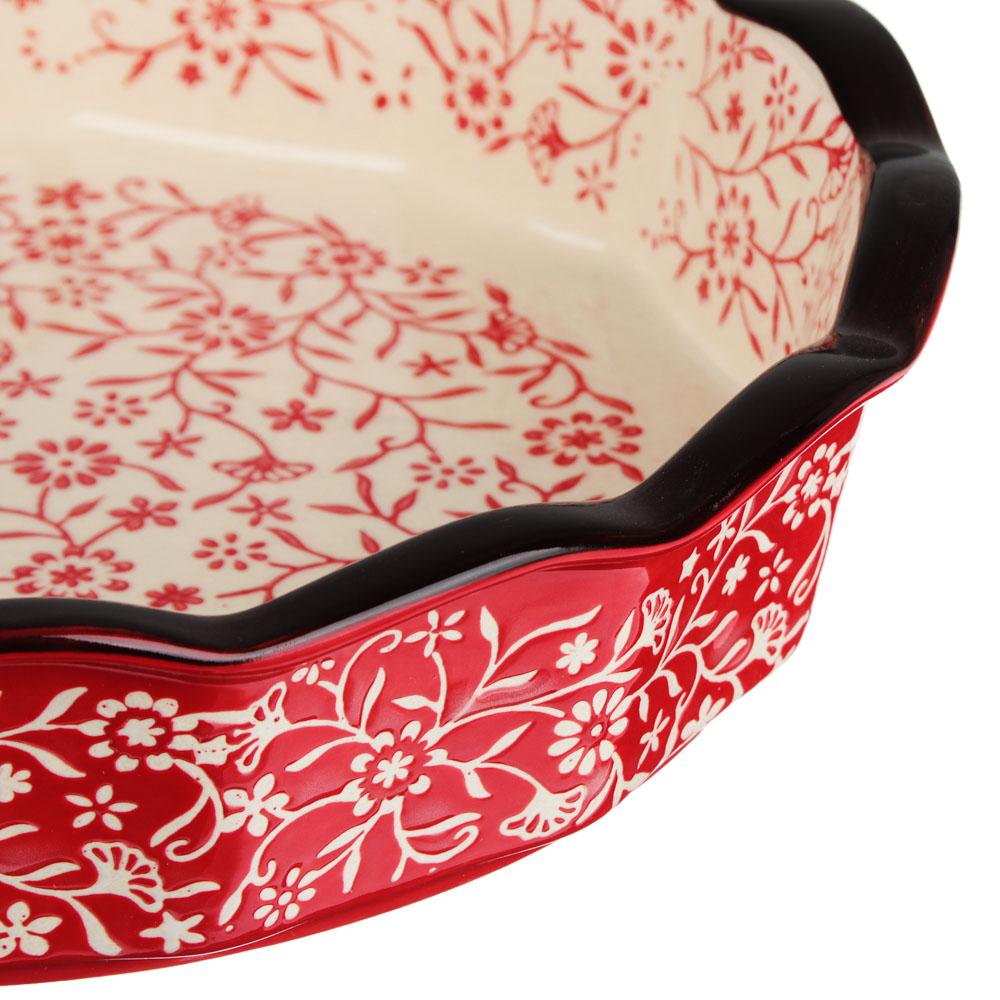 MILLIMI Форма для запекания и сервировки круглая, керамика, 22х4,5см, красный - 3