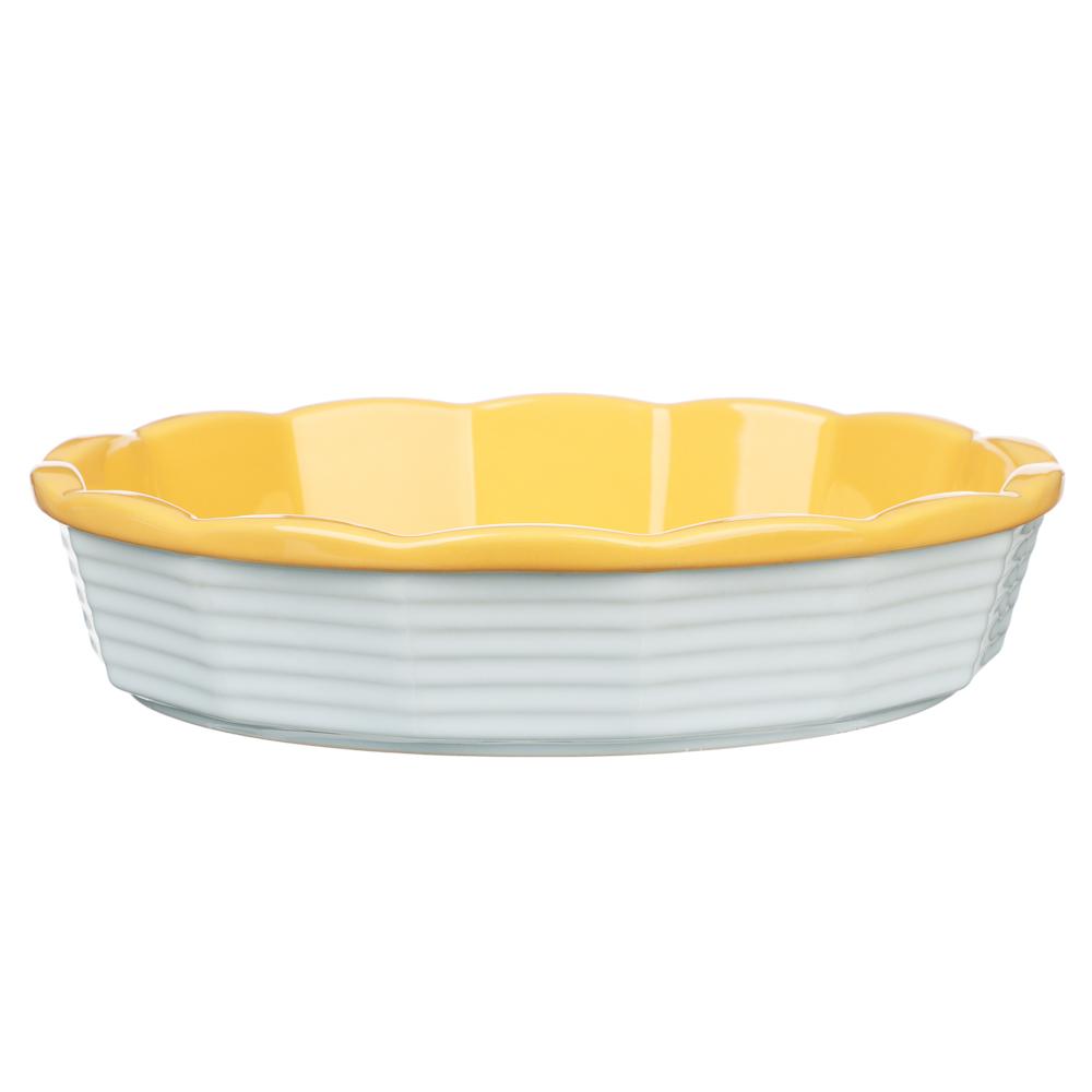 MILLIMI Форма для запекания и сервировки круглая, керамика, 22х5см, рельеф, 2 цвета - 2