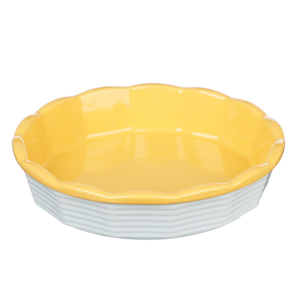 MILLIMI Форма для запекания и сервировки круглая, керамика, 22х5см, рельеф, 2 цвета - 3