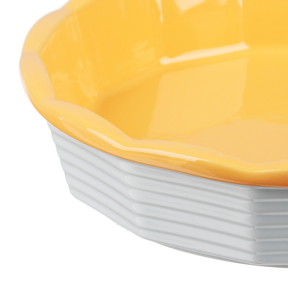 MILLIMI Форма для запекания и сервировки круглая, керамика, 22х5см, рельеф, 2 цвета - 4