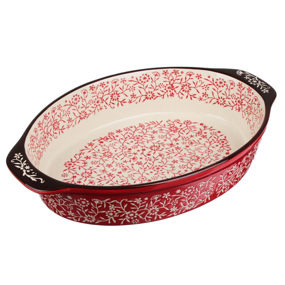 MILLIMI Форма для запекания и сервировки овальная с ручками, керамика, 31х20х6см, красный - 2