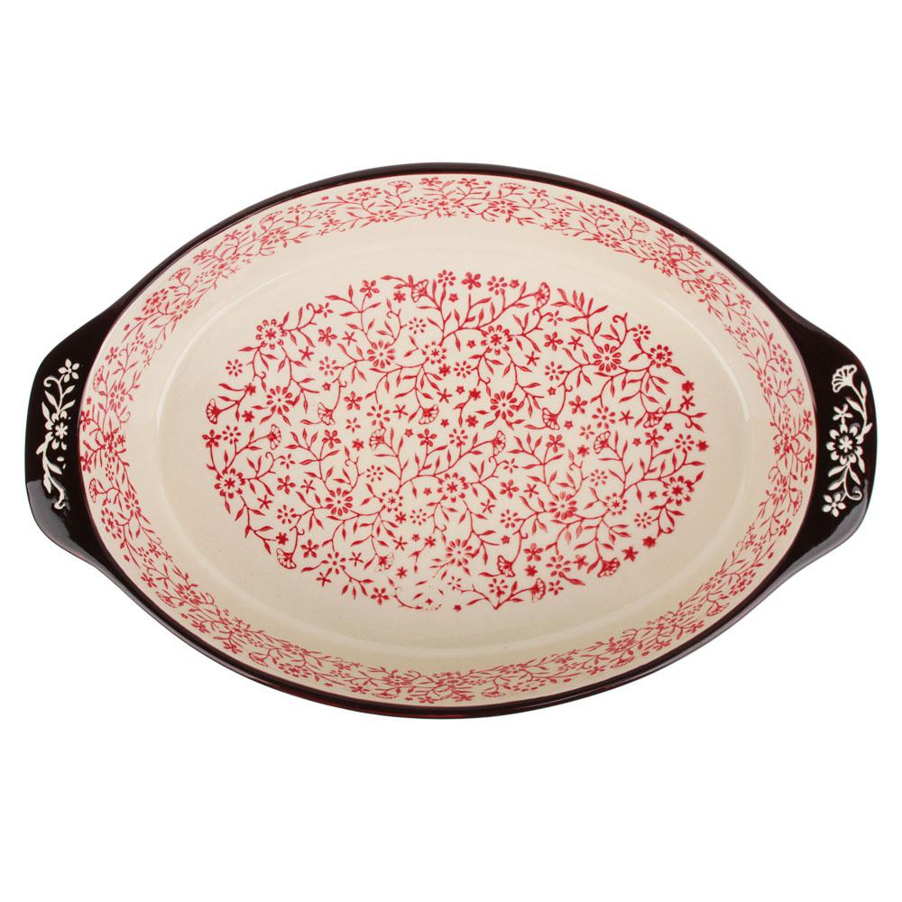 MILLIMI Форма для запекания и сервировки овальная с ручками, керамика, 31х20х6см, красный - 3