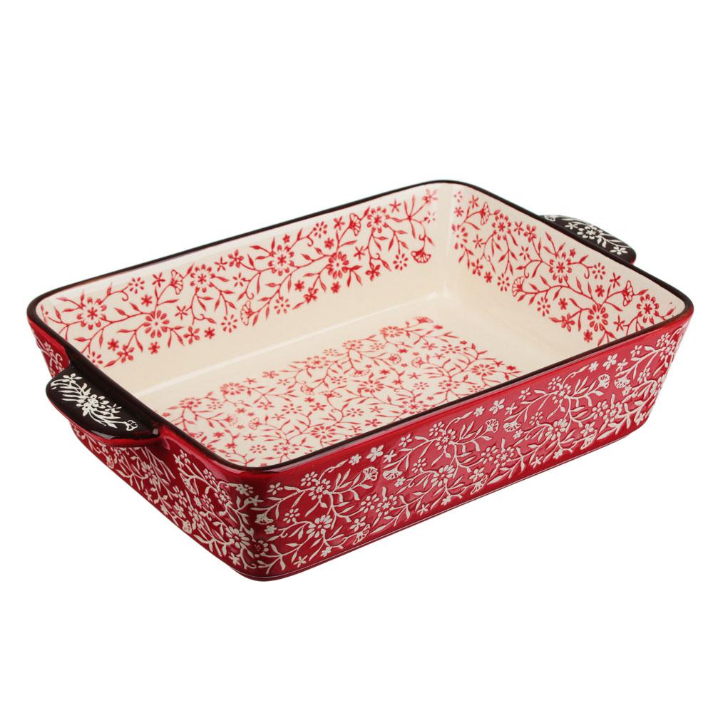 MILLIMI Форма для запекания и сервировки прямоугольная с ручками, керамика, 27,5х17х6см, красный - 2