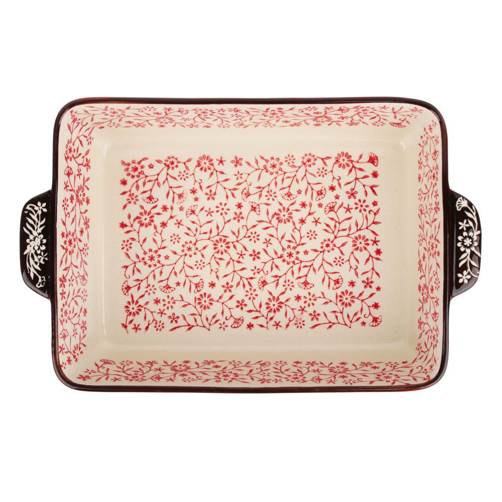 MILLIMI Форма для запекания и сервировки прямоугольная с ручками, керамика, 27,5х17х6см, красный - 3
