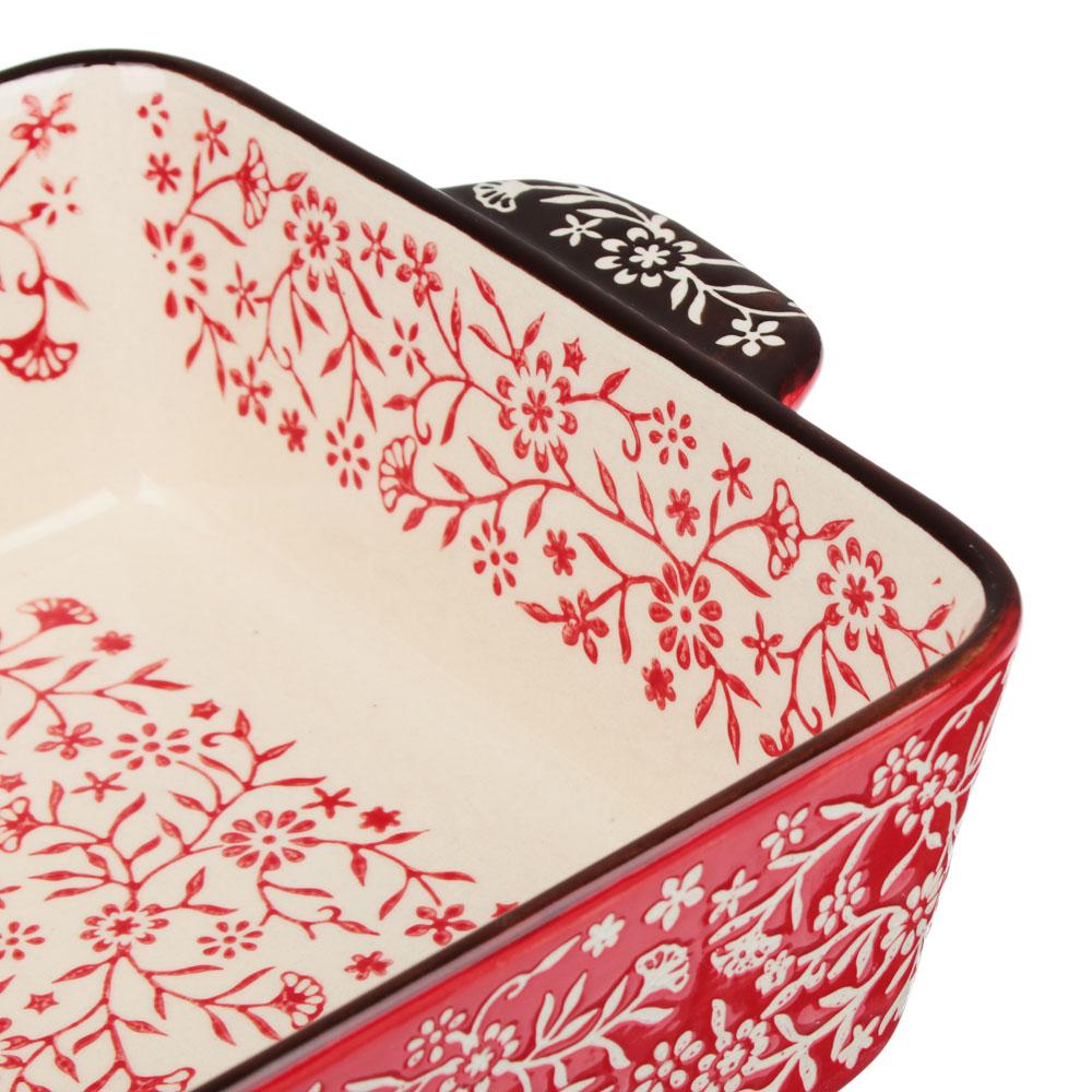 MILLIMI Форма для запекания и сервировки прямоугольная с ручками, керамика, 27,5х17х6см, красный - 4