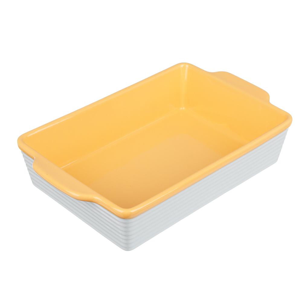 MILLIMI Форма для запекания и сервировки прямоугольная с ручками, керамика, 27,5х17х6см, 2 цвета - 2