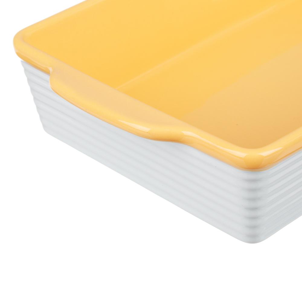 MILLIMI Форма для запекания и сервировки прямоугольная с ручками, керамика, 27,5х17х6см, 2 цвета - 4