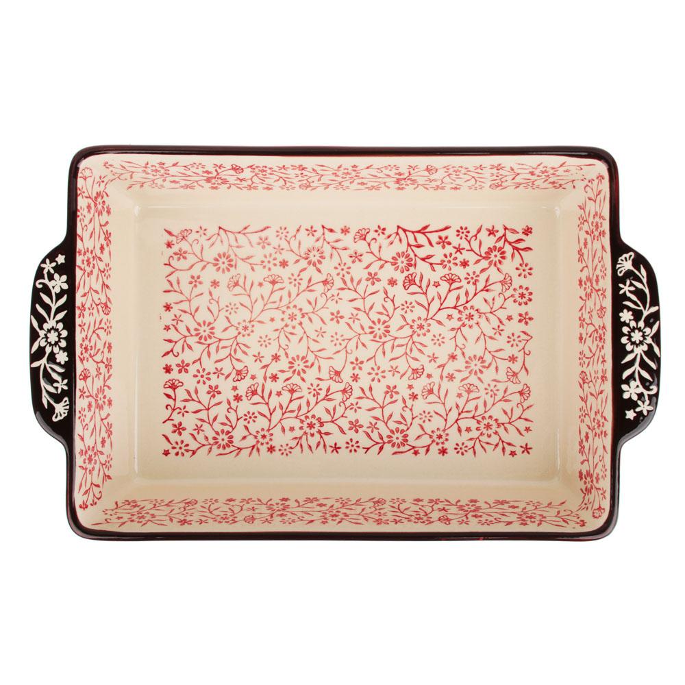 MILLIMI Форма для запекания и сервировки прямоугольная с ручками, керамика, 31х19,5х7см, красный - 3