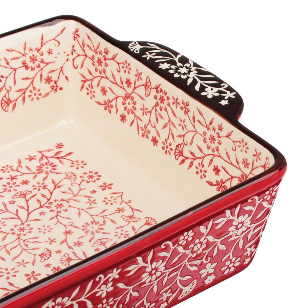 MILLIMI Форма для запекания и сервировки прямоугольная с ручками, керамика, 31х19,5х7см, красный - 4