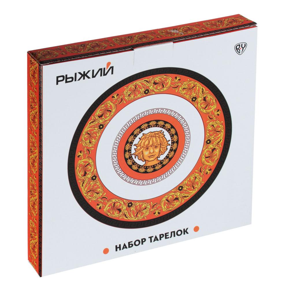 Рыжий Набор тарелок 2 предмета (27см, 20см), костяной фарфор, подарочная упаковка - 4