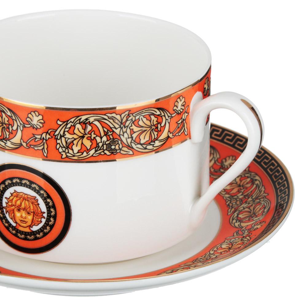 Рыжий Набор чайный 2 предмета (чашка 220мл, блюдце 13см), костяной фарфор, подарочная упаковка - 2