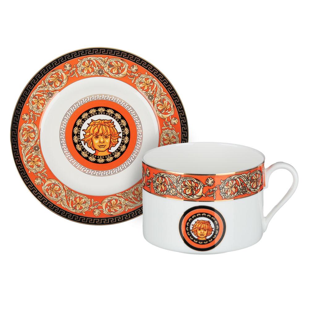 Рыжий Набор чайный 2 предмета (чашка 220мл, блюдце 13см), костяной фарфор, подарочная упаковка - 3