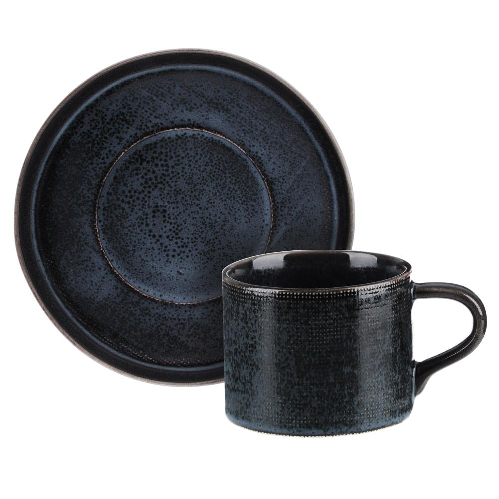 MILLIMI Блэк Джинс Набор чайный 2пр, чашка 220мл, блюдце 16см, керамика - 3