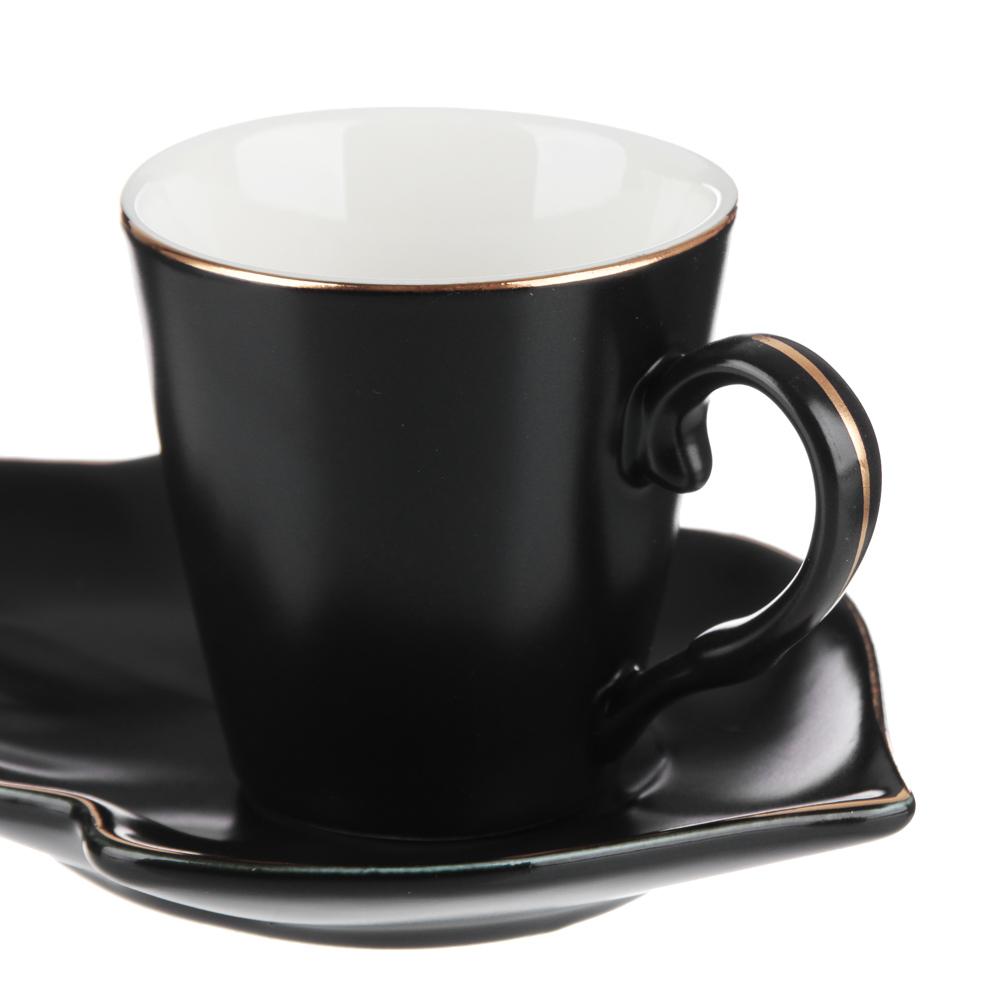 MILLIMI Лист блэк Набор кофейный 12пр., 80мл, 14,5х10см, костяной фарфор - 2