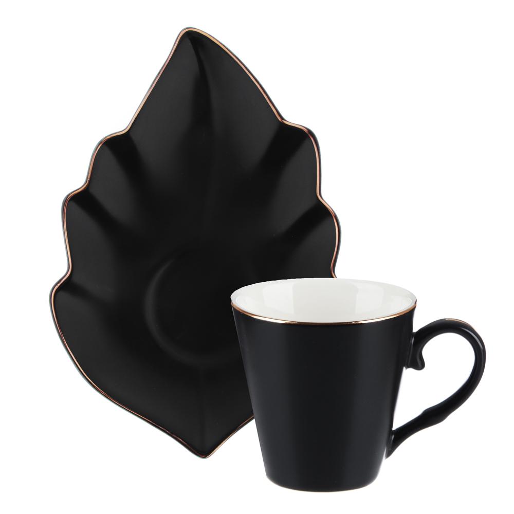 MILLIMI Лист блэк Набор кофейный 12пр., 80мл, 14,5х10см, костяной фарфор - 3